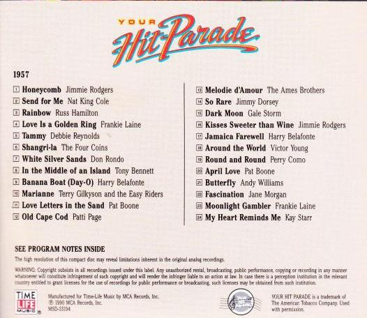 Time Life Music: Your Hit Parade 1957 CD Classic Music!